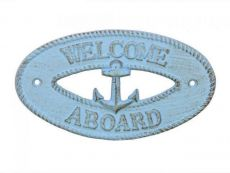 Rustic Light Blue Cast Iron Welcome Aboard with Anchor Sign 8