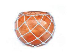 Orange Japanese Glass Fishing Float Bowl with Decorative White Fish Netting 10\