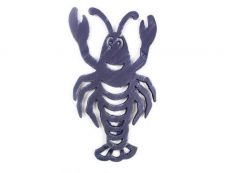Rustic Dark Blue Cast Iron Lobster Trivet 11
