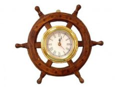 Deluxe Class Wood And Brass Ship Wheel Clock 12\