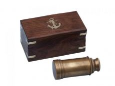 Deluxe Class Scouts Antique Brass Spyglass Telescope 7 with Rosewood Box