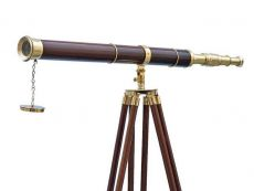Admirals Floor Standing Brass with Wood Telescope 60