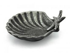 Antique Silver Cast Iron Shell With Starfish Decorative Bowl 6