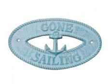 Rustic Light Blue Whitewashed Cast Iron Gone Sailing with Anchor Sign 8