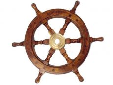 Deluxe Class Wood and Brass Decorative Ship Wheel 12\