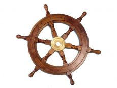 Deluxe Class Wood and Brass Decorative Ship Wheel 15\