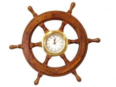 Deluxe Class Wood And Brass Ship Wheel Clock 18\