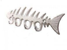 Whitewashed Cast Iron Fish Bone Key Rack 8\