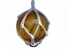 Amber Japanese Glass Ball Fishing Float With White Netting Decoration 3
