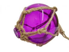 Purple Japanese Glass Ball Fishing Float With Brown Netting Decoration 6
