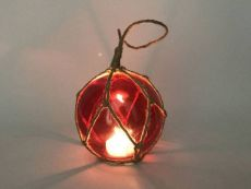 LED Lighted Red Japanese Glass Ball Fishing Float with Brown Netting Decoration 4