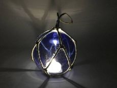 LED Lighted Dark Blue Japanese Glass Ball Fishing Float with Brown Netting Decoration 4
