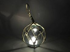 LED Lighted Light blue Japanese Glass Ball Fishing Float with Brown Netting Decoration 4