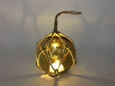 LED Lighted Amber Japanese Glass Ball Fishing Float with Brown Netting Decoration 4