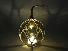 LED Lighted Amber Japanese Glass Ball Fishing Float with Brown Netting Decoration 3