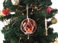LED Lighted Orange Japanese Glass Ball Fishing Float with White Netting Christmas Tree Ornament 4