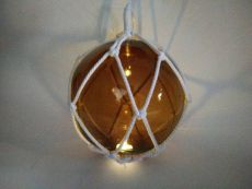 LED Lighted Amber Japanese Glass Ball Fishing Float with White Netting Decoration 10