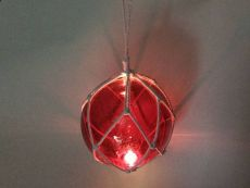LED Lighted Red Japanese Glass Ball Fishing Float with White Netting Decoration 10
