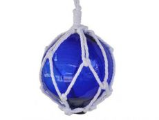 Blue Japanese Glass Ball Fishing Float With White Netting Decoration 6