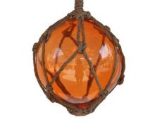 Orange Japanese Glass Ball Fishing Float With Brown Netting Decoration 6