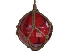 Red Japanese Glass Ball Fishing Float With Brown Netting Decoration 6