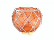 Orange Japanese Glass Fishing Float Bowl with Decorative White Fish Netting 8\