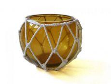 Amber Japanese Glass Fishing Float Bowl with Decorative White Fish Netting 6\