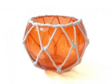 Orange Japanese Glass Fishing Float Bowl with Decorative White Fish Netting 6
