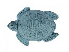 Dark Blue Whitewashed Cast Iron Decorative Turtle Bottle Opener 4