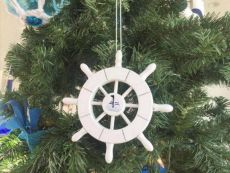 White Decorative Ship Wheel With Sailboat Christmas Tree Ornament 6