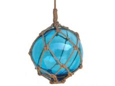 Light Blue Japanese Glass Ball Fishing Float With Brown Netting Decoration 12