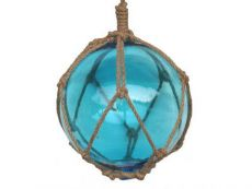 Light Blue Japanese Glass Ball Fishing Float With Brown Netting Decoration 8