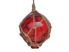 Red Japanese Glass Ball Fishing Float With Brown Netting Decoration 3