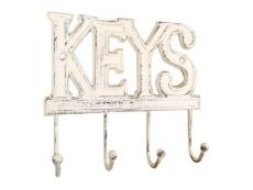 Whitewashed Cast Iron Keys Hooks 8