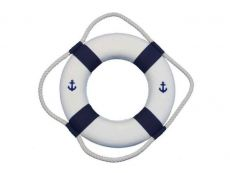 Classic White Decorative Anchor Lifering With Blue Bands Christmas Ornament 10