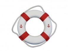 Classic White Decorative Anchor Lifering With Red Bands 10