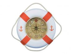Classic White Decorative Anchor Lifering Clock With Orange Bands 18