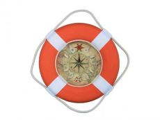 Vibrant Orange Decorative Lifering Clock With White Bands 18