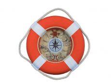 Vibrant Orange Decorative Lifering Clock With White Bands 12