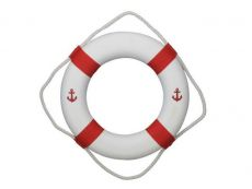 Classic White Decorative Anchor Lifering with Red Bands 20\