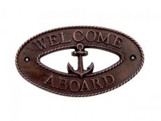 Antique Copper Welcome Aboard Oval Sign with Anchor 8
