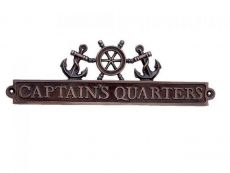 Antique Copper Captains Quarters Sign with Ship Wheel and Anchors 12