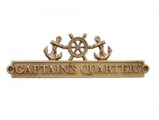 Antique Brass Captains Quarters Sign with Ship Wheel and Anchors 12