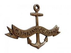 Antique Brass Captains Quarters Anchor With Ribbon Sign 8