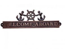 Antique Copper Welcome Aboard Sign with Ship Wheel and Anchors 12