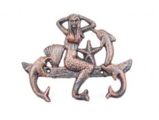 Rustic Copper Cast Iron Wall Mounted Mermaid with Dolphin Hooks 9
