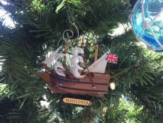Wooden Mayflower Tall Model Ship Christmas Ornament 4