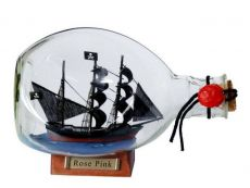 Ed Lows Rose Pink Pirate Ship in a Glass Bottle 7