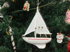 Wooden Intrepid Model Sailboat Christmas Tree Ornament