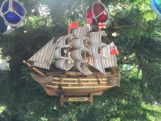 Wooden HMS Victory Model Ship Christmas Tree Ornament